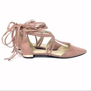 Eva & Zoe Claire lace up pointed toe ballet flat